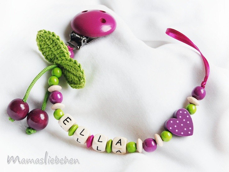 Pacifier chain / Dummy holder, keeper personalized name, cherry, heart and wood clip, purple (item 1064)