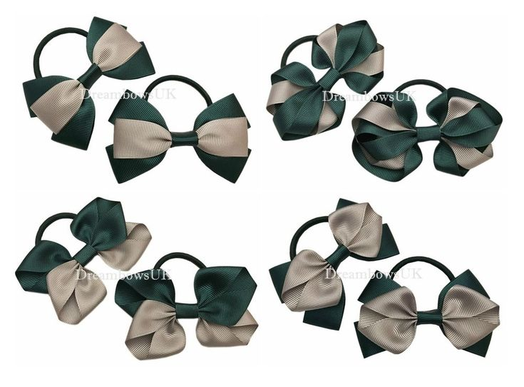Bottle green and grey school hair bows on thick bobbles, school hair accessories #DreambowsUK