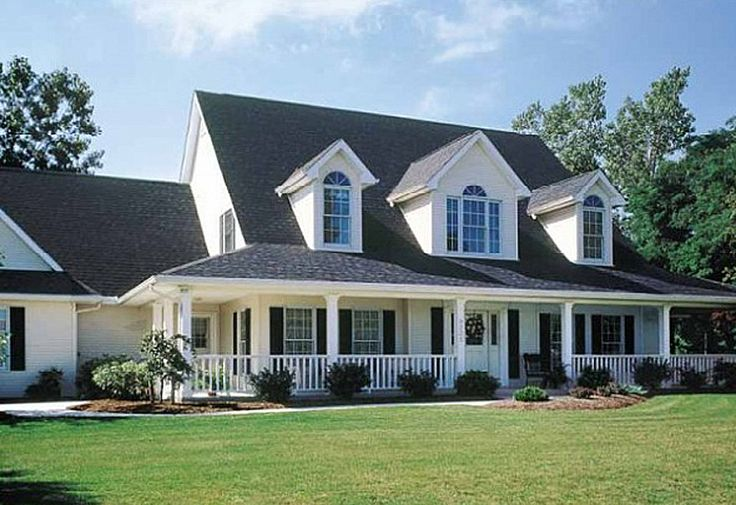 3 front dormers and farmers porch house plans for Country style homes floor plans