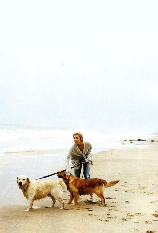 girl, sea, dog, sand, beach