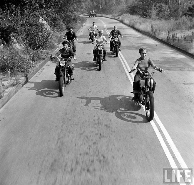 Loving the open road and these gals' Rebel without a Cause style, but I think I'd add a helmet!