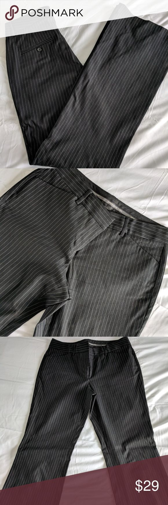 Women's Express Pinstripe Slacks Size 6 Long Women's straight leg slacks. size 6 LONG, barely worn. pocket on back, small pockets on front. Has belt loops.   Brand: Express Size: 6 Long Color: pinstripes black and white Condition: Previously loved.   Bundle Discounts and reasonable offers accepted, just ask..  Thank you for browsing! Express Pants Trousers