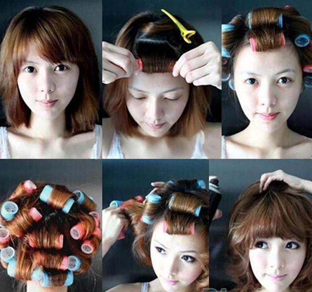 6 unids Velcro rizadores rodillos cabello que labra la herramienta de peluquería Hair Style bricolaje(China (Mainland))