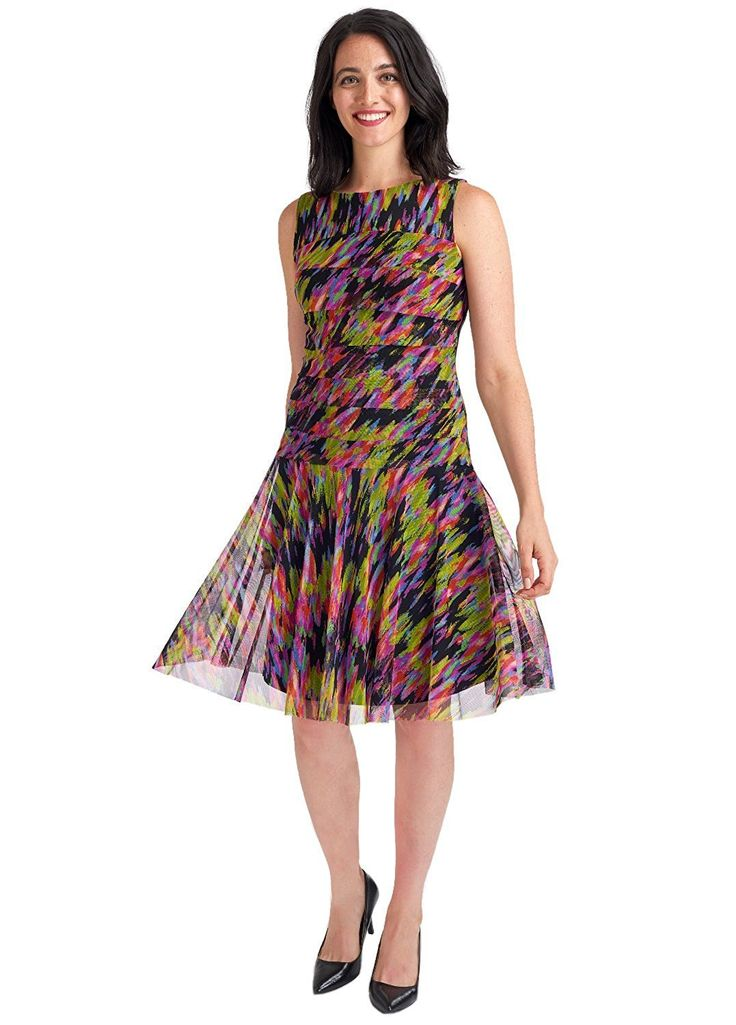 ILE NEW YORK Women's Mesh Multi-Color Fit & Flare Sleeveless Dress, Wear To