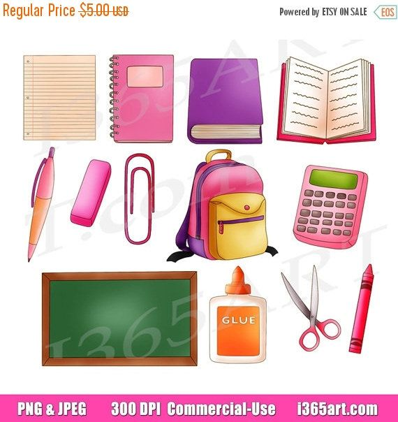 50% OFF Sale School Clipart Clip art, Back to school clipart, school supplies clipart, scrapbooking, study, graphics, pink, png, commercial by I365Art