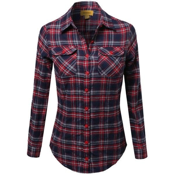 Awesome21 Women's Flannel Plaid Checker Rolled up Shirts Blouse Top ($22) ❤ liked on Polyvore featuring tops, blouses, tartan plaid flannel shirt, flannel blouse, roll top, tartan shirt and checked shirt