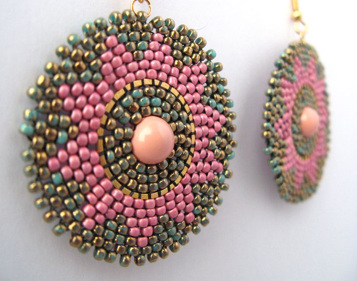 Beaded earrings with marble Toho seed beads and Swarovski pearls.