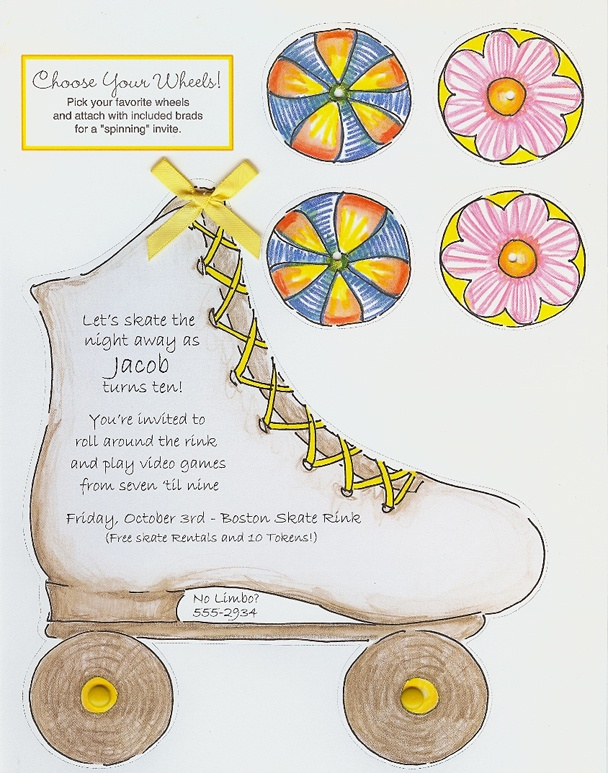 Roller Skate invitations you print yourself with spinning, changable wheels/brads