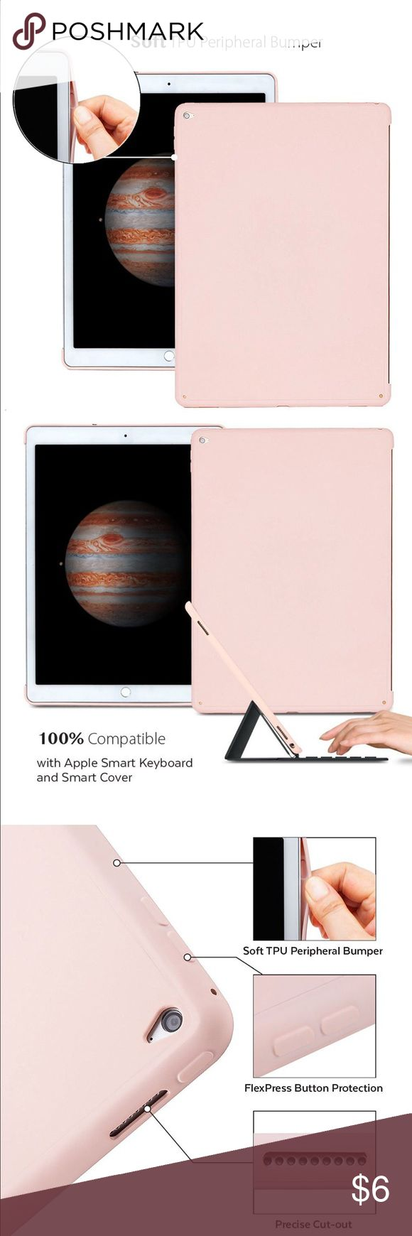 Case for Apple iPad Pro 12.9 inch  - [Baby Pink] NEW!! Case is designed to give your iPad Pro 12.9 all-round protection from bumps and scratches. It is easy to install by just snap on to your device. Hard Back & Soft TPU Bumper Case is the perfect combination of style. Compatible with iPad Pro 12.9.  Smart Cover And Keyboard Compatible:  Perfect fit with Smart keyboard. It will not affect the keyboard adsorption. Camera hole cutout on the back and full access to all iPad ports / connections…