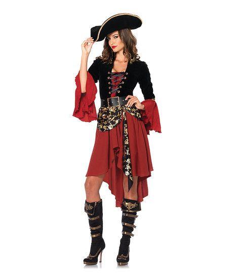 Leg Avenue Black & Burgundy Cruel Seas Captain Costume Set   zulily