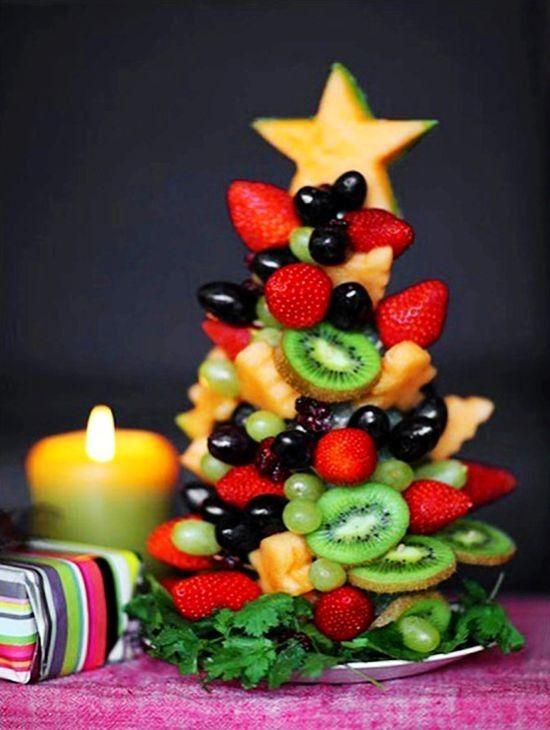 DIY fruits christmas tree, creative christmas tree, 2013 christmas food ideas