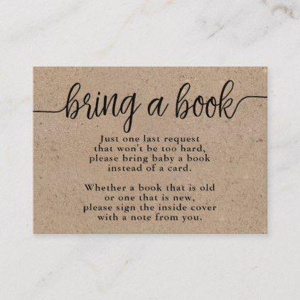 Rustic Kraft Baby Shower Bring a Book Insert Card   Zazzle.com