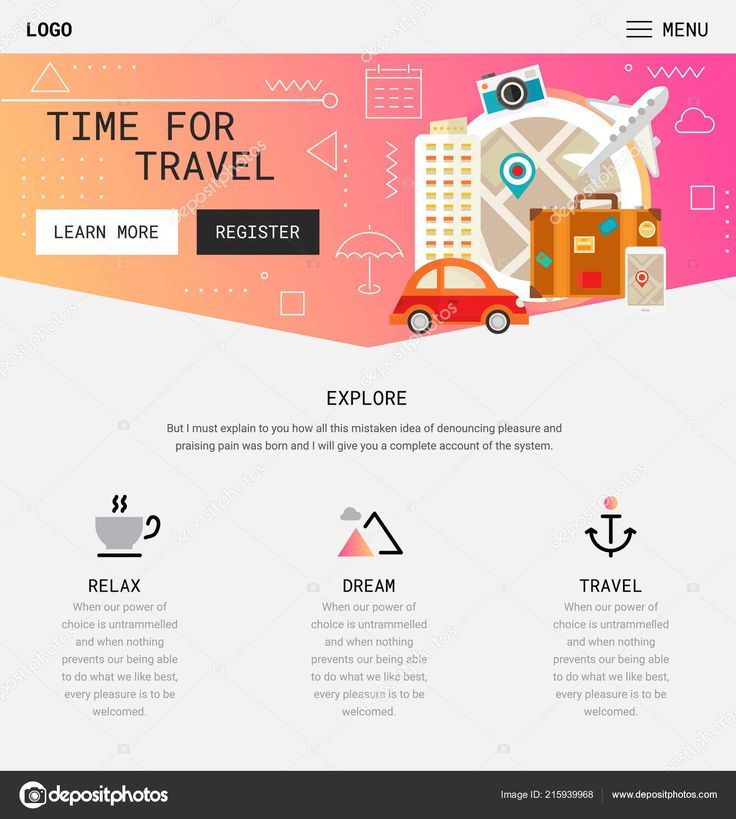 Flat design responsive travel mobile app splash screens template – Travel adventure tattoo lost