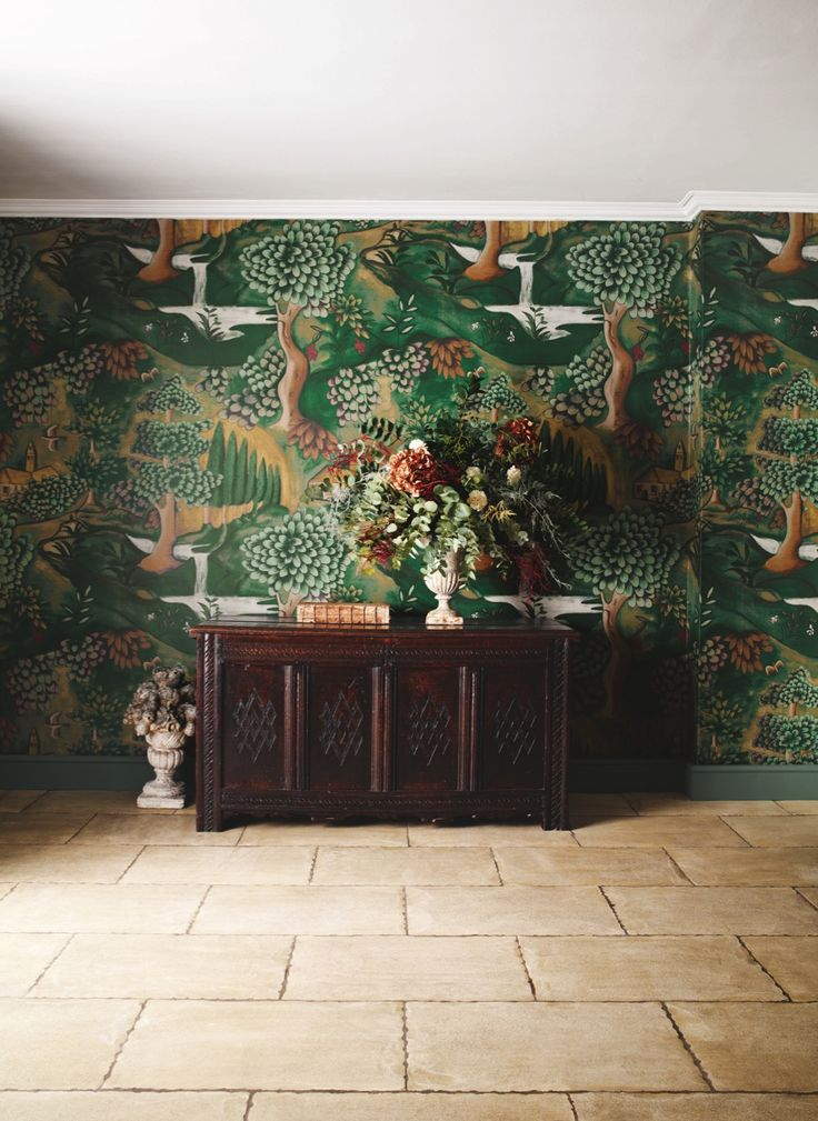 'Verdure' digitally printed wallpaper in Tapestry Green, £107 per m, Arden Wallpapers by Melissa White, Zoffany