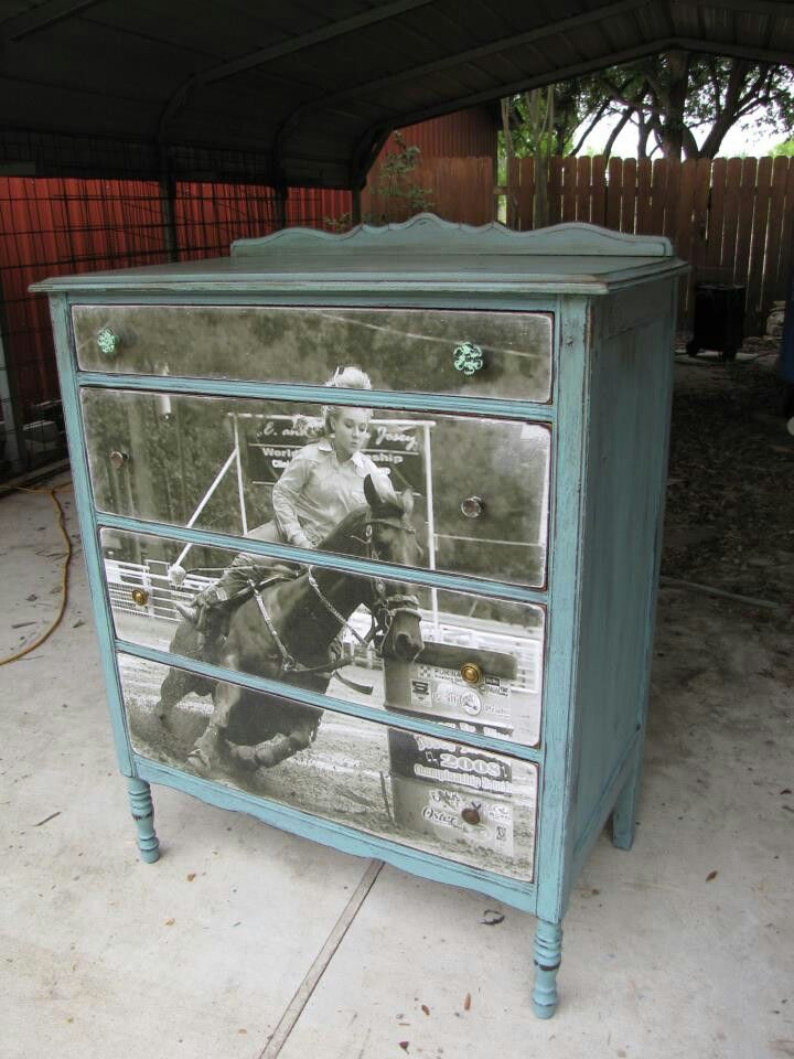 Apply a picture of you and your horse on a dresser - great equestrian DIY project!