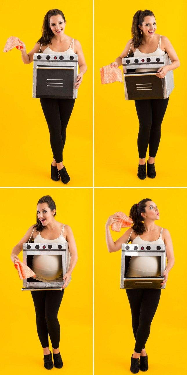 "Baby on the way? DIY this ""bun in the oven"" costume for Halloween."