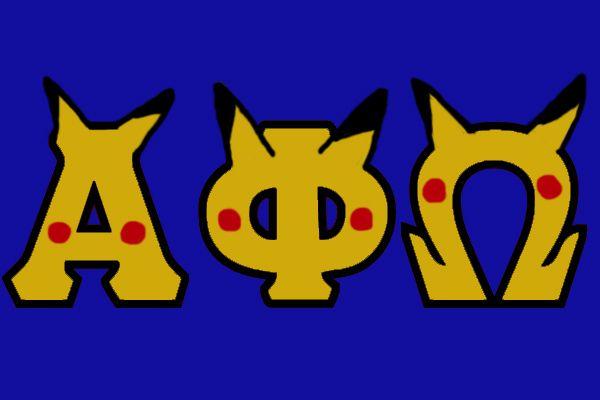 Pikachu Alpha Phi Omega letters