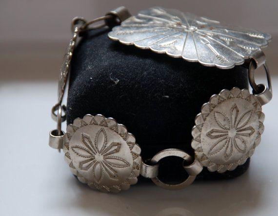 Fiesta Native American Concho Bracelet Estate Vintage Signed