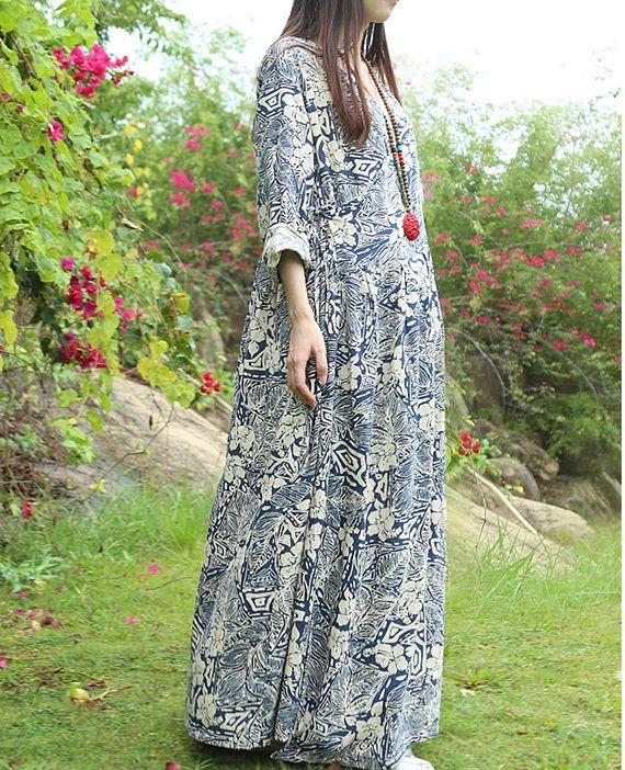 Loose fitting tunic dress v-round linen dress long shift dress