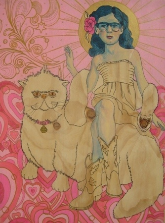 Carmel Debreuil    What's New, Pussycat? - 2012    Acrylic, graphite, estapol, stain and Posca on ply    60 x 80 cm
