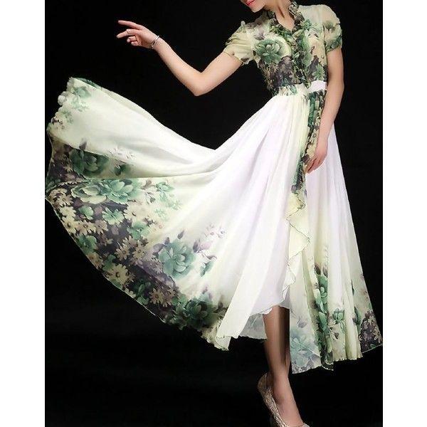 Fashion Green Chiffon Elegant Maxi Dress ($74) ❤ liked on Polyvore featuring dresses, trapeze dress, green swing dress, swing dress, white swing dress and green chiffon dress