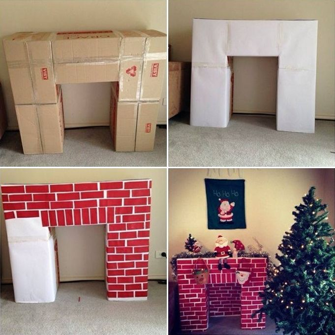 This Cardboard Fireplace Mantel Idea is Superb for Christmas…