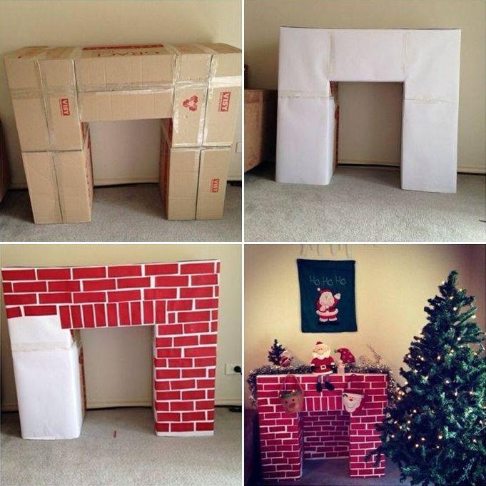 This Cardboard Fireplace Mantel Idea is Superb for Christmas - http://www.amazinginteriordesign.com/cardboard-fireplace-mantel-idea-superb-christmas/