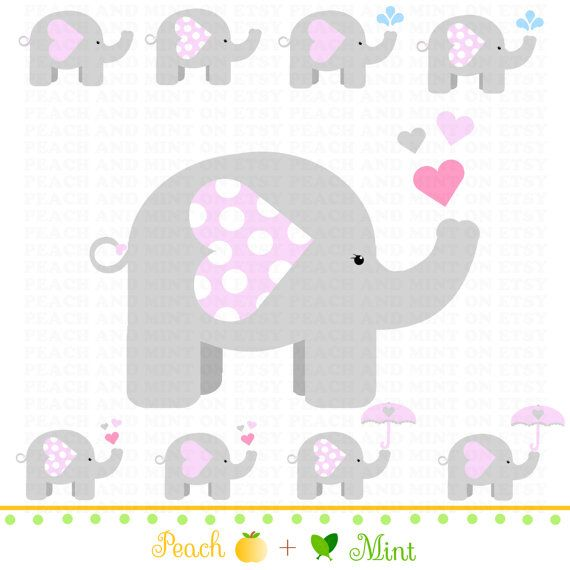 Girl Baby Elephant Clip Art Digital clipart by PeachAndMint