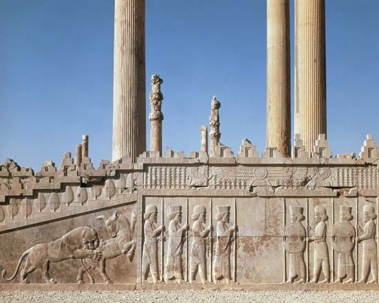 An apadana is basically a large audience hall. The most famous apadana, as depicted in the image, was located in Persepolis.  The columns were 65-feet-high and 27-feet-apart.