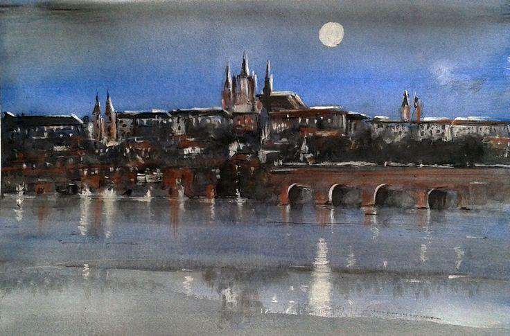 Praga, acquerello e matita