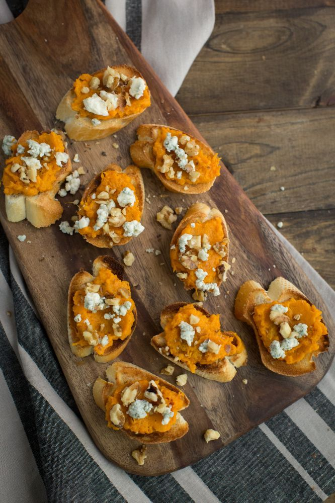 Sweet Potato Crostini with Blue Cheese and Walnuts