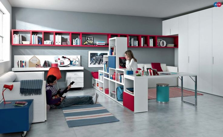 Teenagers Rooms Photo 14: Red White Blue Contemporary Teenagers Room