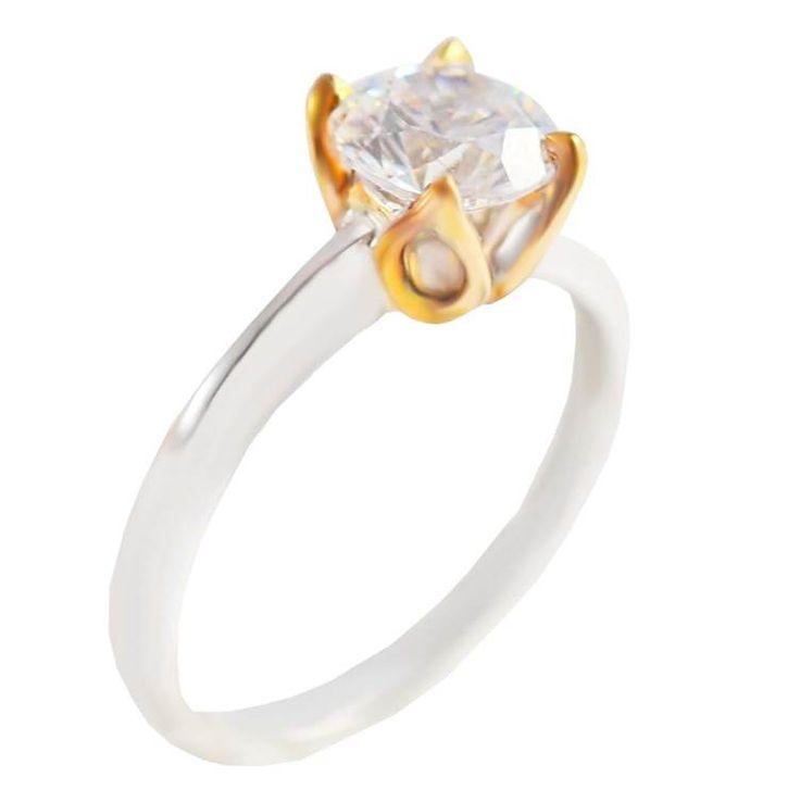 Μ157Ζ- Δίχρωμο χρυσό μονόπετρο δαχτυλίδι με ζιργκόν