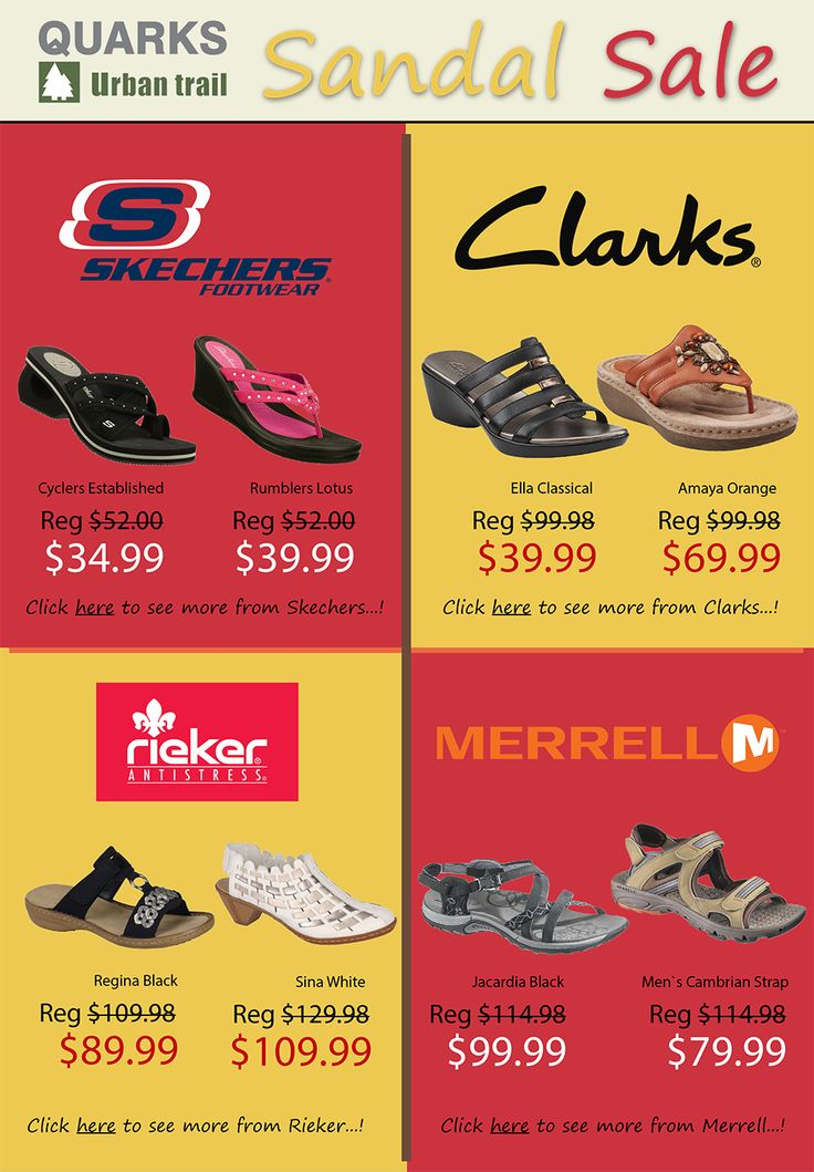 Sandals on sale! #Skechers, #Clarks, #Merrell, #Rieker and more!