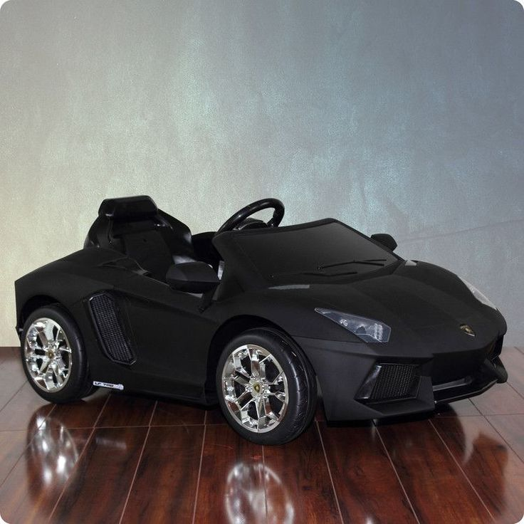Lamborghini Aventador Electric Car. Give your child the latest and greatest Lamborghini on the market, the Lamborghini Aventador 12V ride on car.  Officially licensed by Lamborghini, this matte black Lamborghini comes fully equipped with LED headlights, rear taillights, MP3 Jack with sound.  Your child will be rolling down the neighborhood turning heads with this car.  For ages 3 to 6 and complies with U.S. Toy Safety Standards.