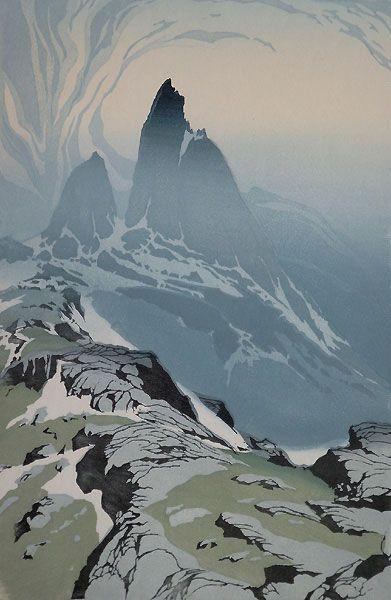 ✨ Oscar Droege (1898-1983) - Aufragende Felsspitzen I, Farb-Holzschnitt ::: Towering Rock Peaks I, Colour Woodcut
