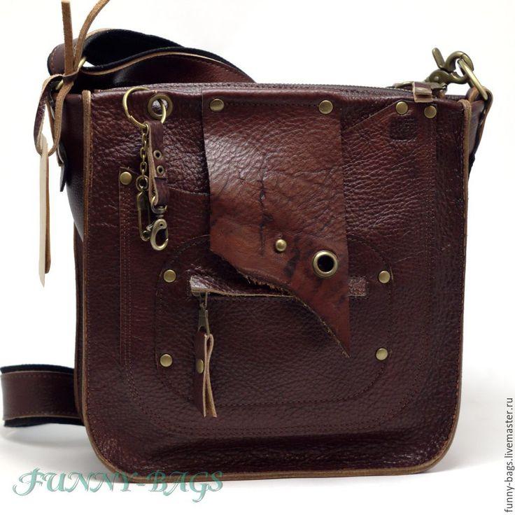 """Купить Кожаная сумка """"Стиляга 2"""" - коричневый, Кожаная сумка, мужская сумка, мужской подарок"""
