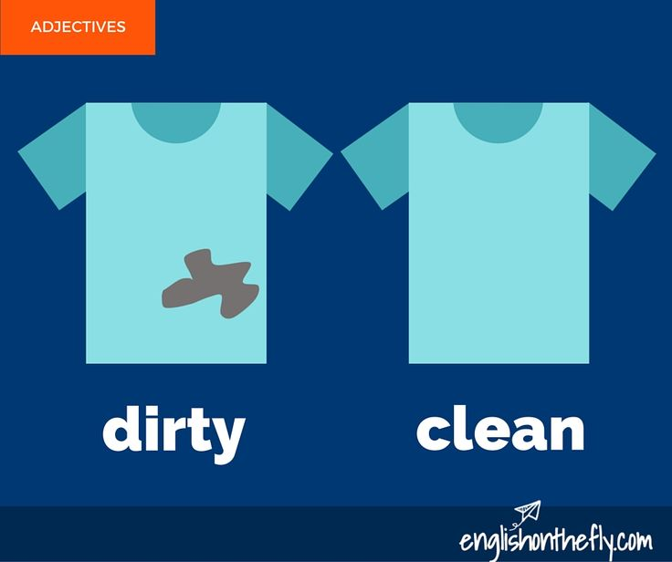 English vocabulary for ESL and EFL students. Dirty and Clean