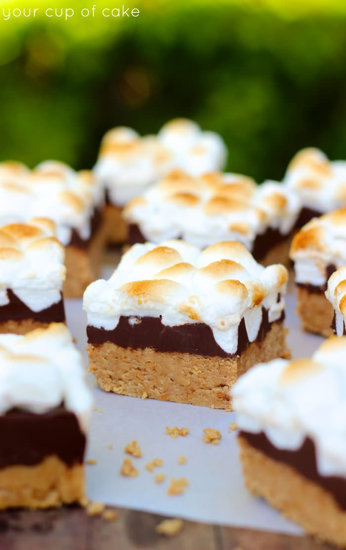 No Bake Peanut Butter S'more Bars for summer, so easy and yummy!