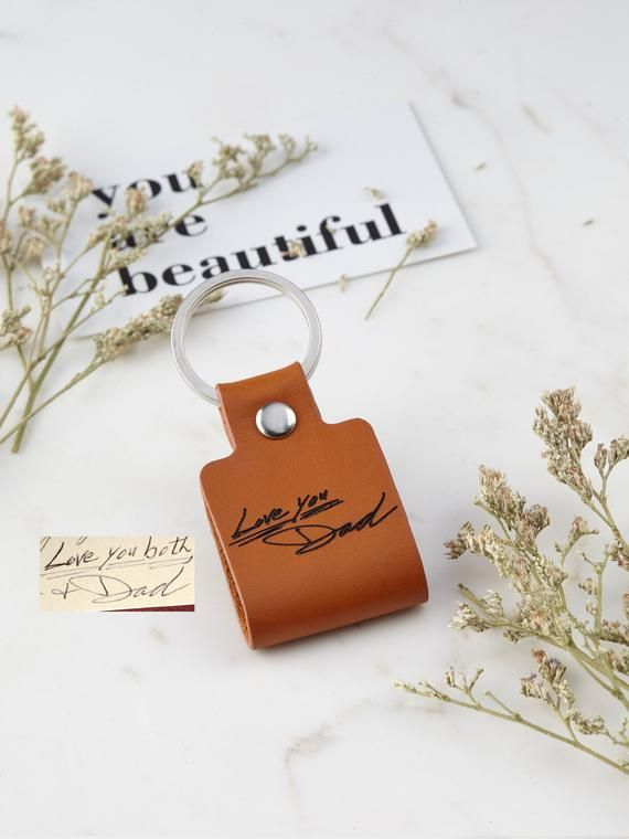 Loss Of Dad Gift For Him Leather Handwriting Keychain Memorial