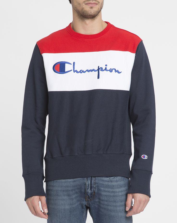 Sweat Tricolore Logo Bleu - CHAMPION - Sweats col Rond CHAMPION pour homme, LIVRAISON et Retour 30J GRATUIT - Menlook.com : + de 250 marques à découvrir