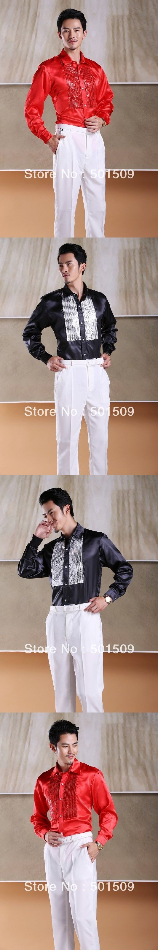 Free shipping prince stage sequins decoration mens tuxedo shirts party/event shirts latin dance performance shirts