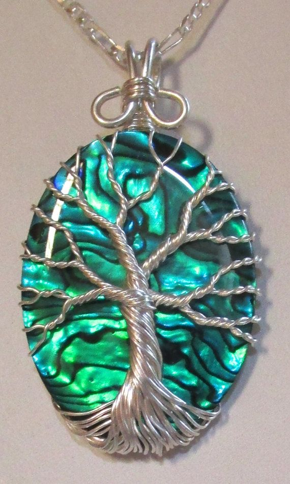 Fine Silver Blue Green Paua Shell Tree of Life, Fine Silver and Ocean Blue Paua…
