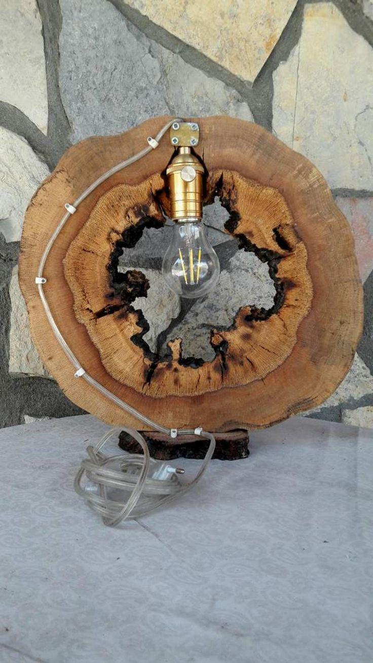 rustikale Nachtlampe, Holz Tischlampe, dekorative Ecklampe, handgemachte Holzlampe