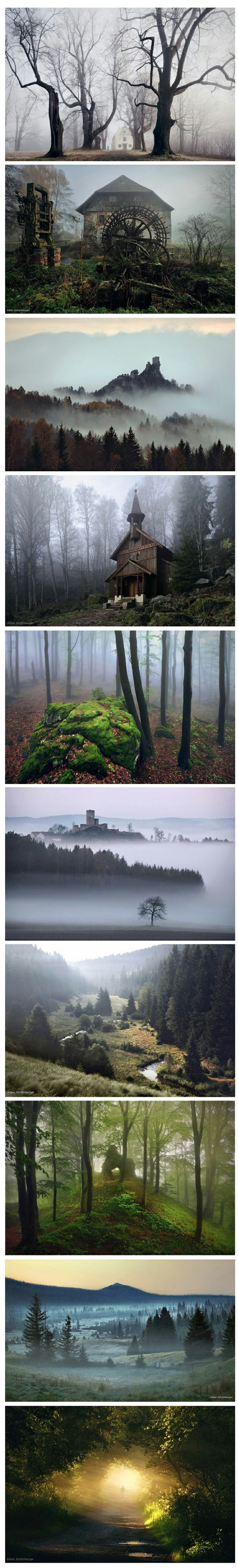 German photographer Killian Schoenberger has utilized moody landscape and old stories of his childhood homeland to create a series of photographic illustrations inspired by the fairy tales of the Brothers Grimm. Shot in remote rural areas of Middle Europe dominated by images of haunting fog, gnarled trees and dark homes you hope are abandoned. His exemplary work as a photographer is made even more impressive by the fact that he is colorblind.: