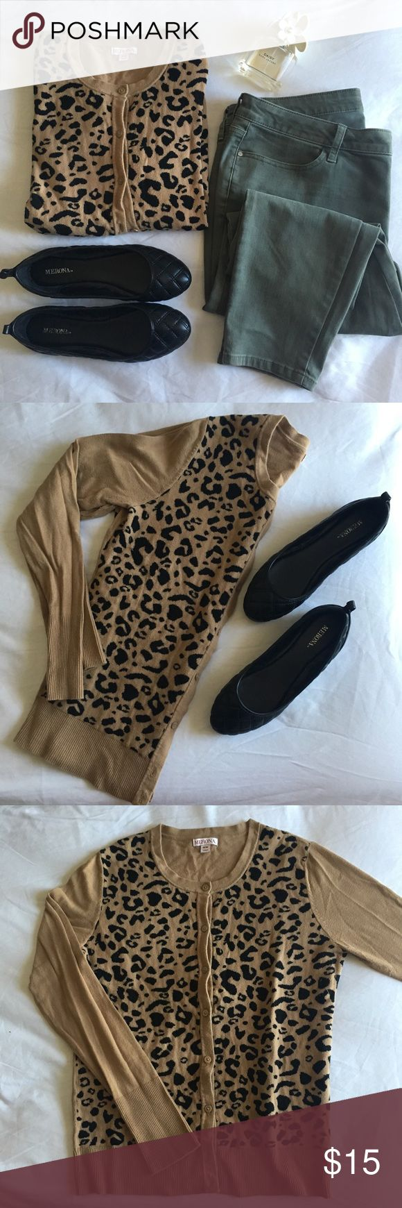 Leopard print cardigan EUC cardigan designed with a fabulous leopard print in the front. It's a great statement piece that goes great with many basics. The print is only on the front, the back as well as the sleeves are a warm camel color.   Smoke and pet free home • Make me an offer   • Flats pictured are also for sale all other items are for esthetic purposes Merona Sweaters Cardigans