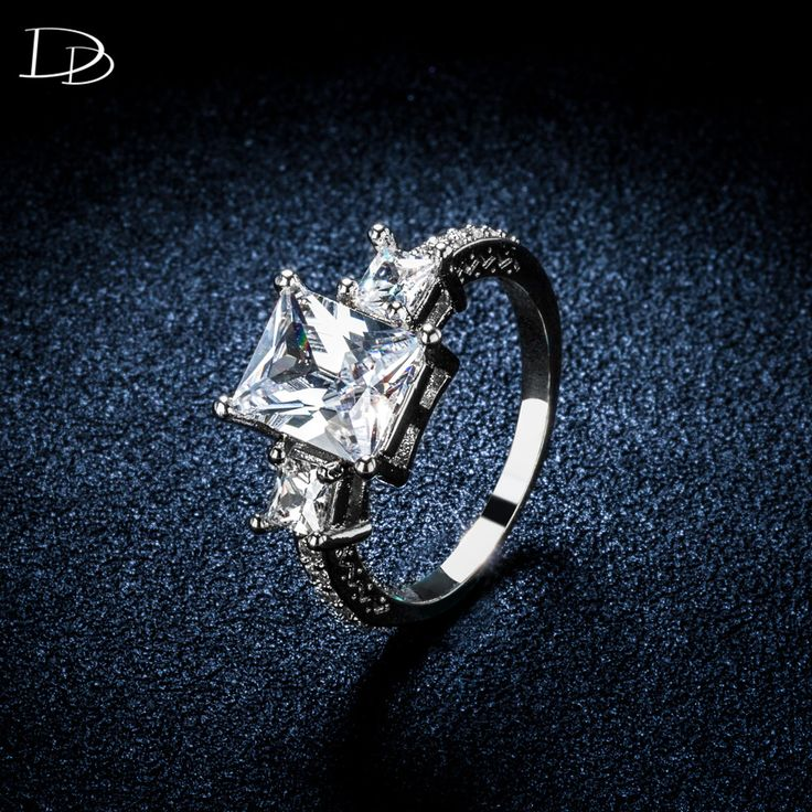 vintage square CZ diamond rings for women white gold plated wedding engagement ring crystal elegant anel bague jewelry DD032