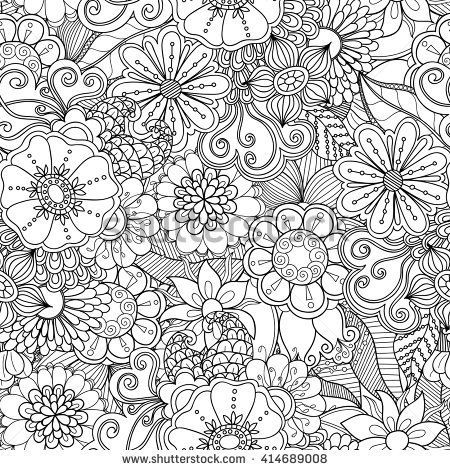 Doodle flowers seamless pattern. Zentangle style flowers and leaves background. Black and white hand drawn herbal pattern.