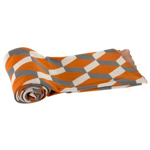 Orange Cotton Cashmere Throw