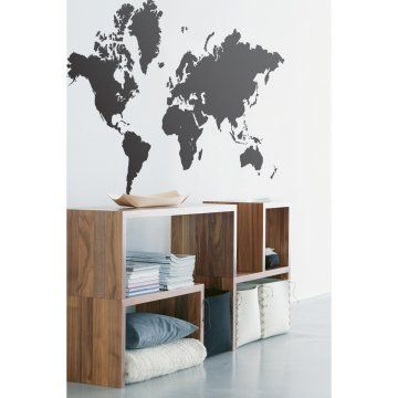 World Map Wall Decal - Black